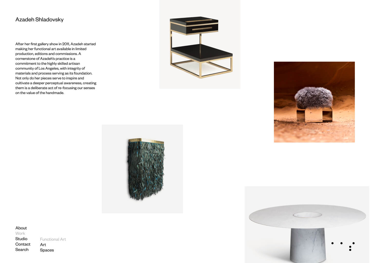 Custom cascading grid of the functional art collection page